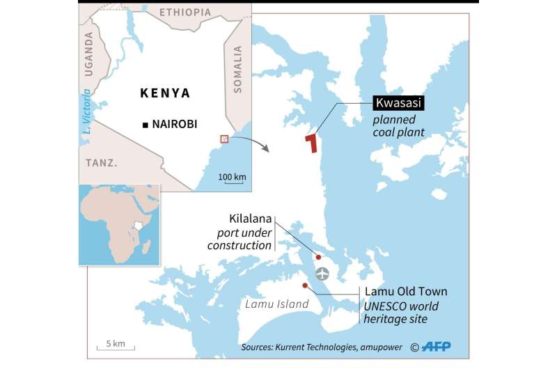 Map of the Kenyan coast locating a controversial coal plant project and port on the Lamu archipelago
