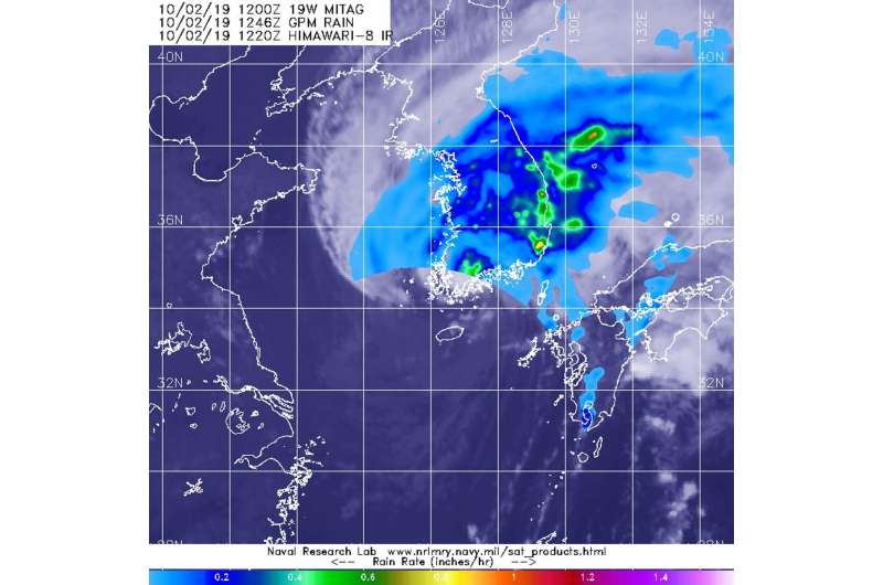 NASA finds Mitag's areas of heavy rainfall over Korean Peninsula