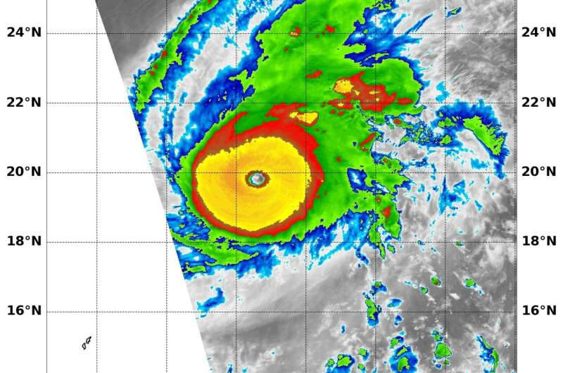 NASA finds thick ring of powerful storms around Super Typhoon Halong's eye