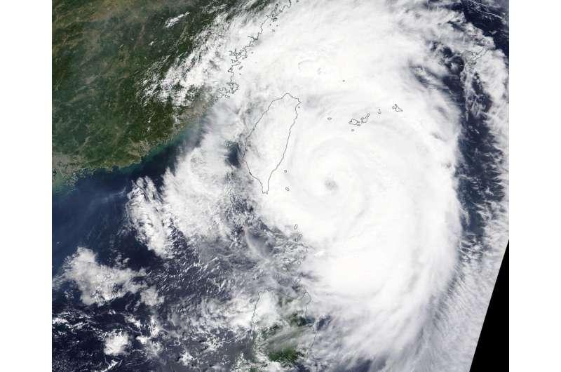 NASA finds Typhoon Mitag's eye east of Taiwan