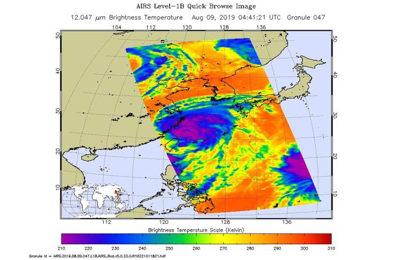 NASA gives Typhoon Lekima a twice-over with the Aqua satellite