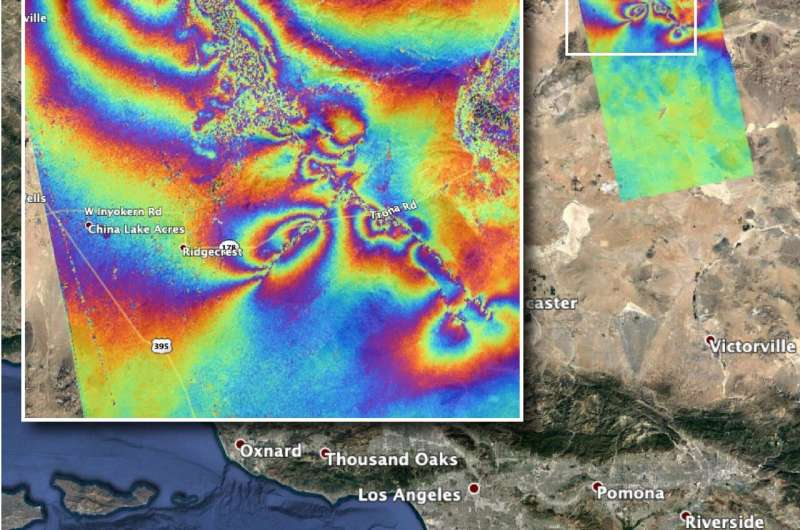 NASA maps surface changes from California quakes
