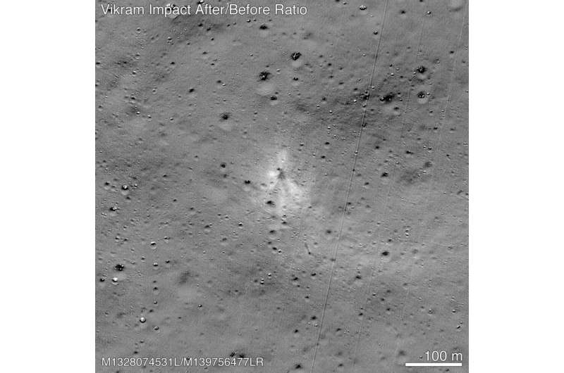 NASA released an image taken by its Lunar Reconnaissance Orbiter that showed the site where India's Vikram lander crashed on the