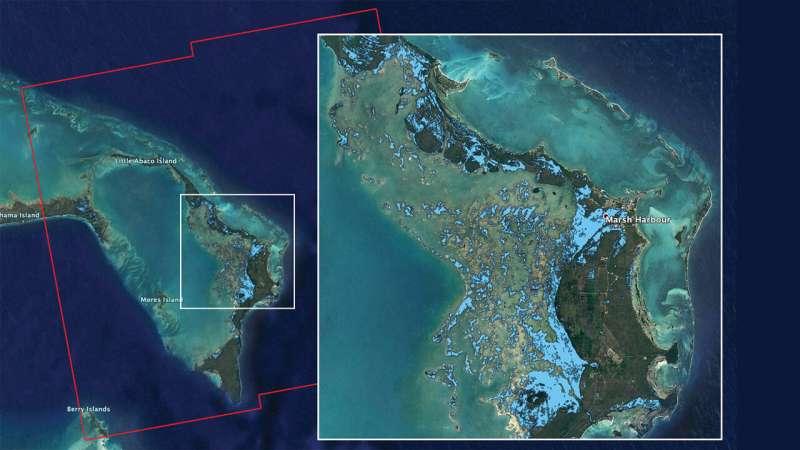 NASA's ARIA team maps flooding in the Bahamas