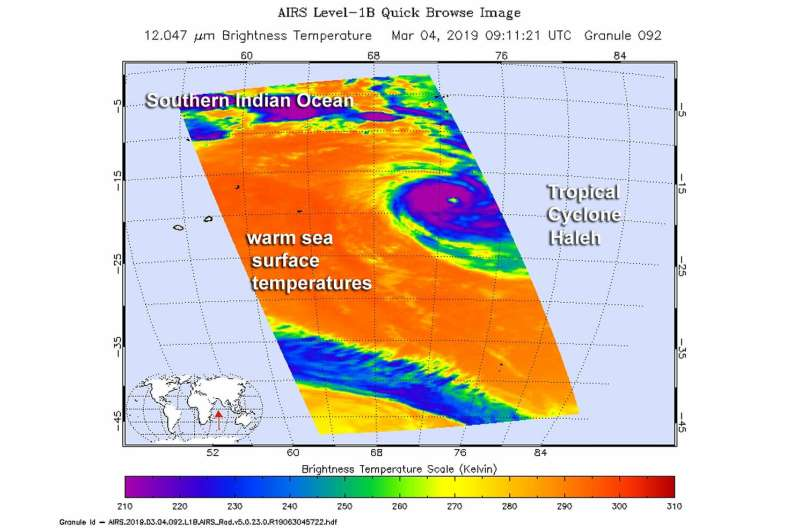 NASA's infrared vision reveals Tropical Cyclone Haleh's power