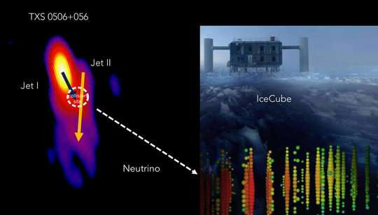 Neutrino produced in a cosmic collider far away