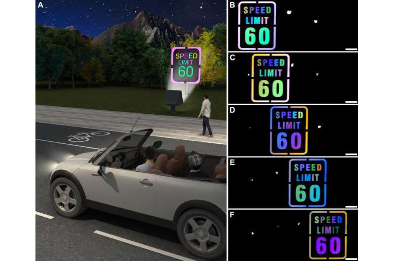 New retroreflective material could be used in nighttime color-changing road signs