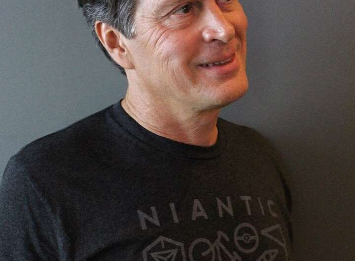 Niantic founder and chief executive John Hanke speaks during an interview in San Francisco on a plan to turn the world into a gi