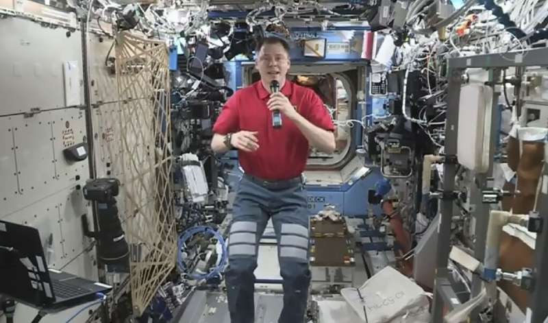 Nick Hague, shown here aboard the ISS conversing live with US actor Brad Pitt, had a close brush with death along with Russian c