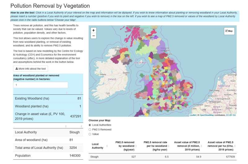 Online calculator shows how trees can improve air quality and cut health costs