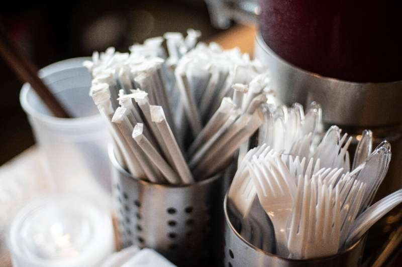 Plastic straws wrapped in paper are seen at a food hall in Washington on June 20, 2019, days before a ban on such straws is to t