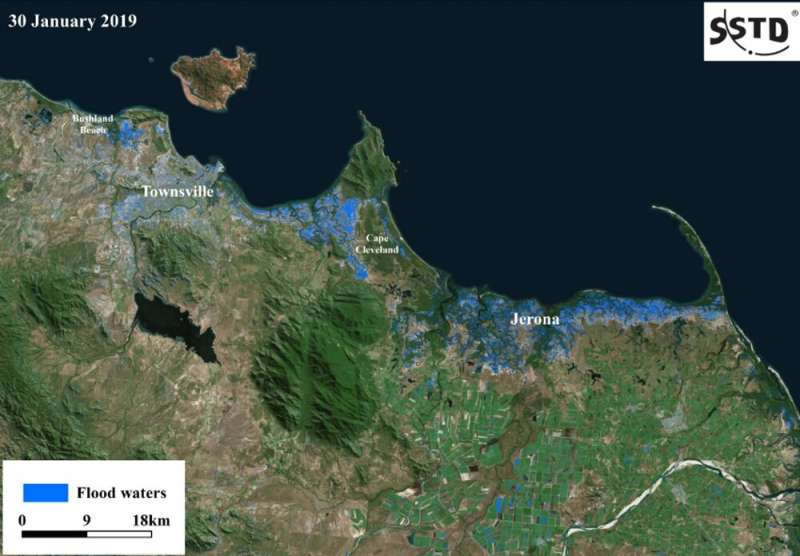 Queensland's floods are so huge the only way to track them is from space