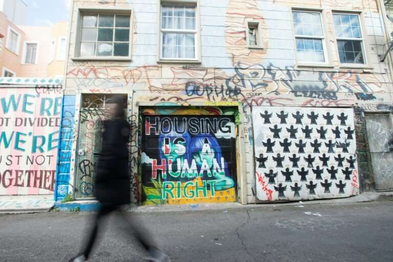 """""""Housing is a human right,"""" says a mural in San Francisco, where officially there are 7,500 homeless people"""