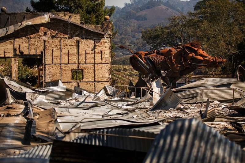 """""""Lord Snort,"""" a steel sculpture of a boar, is seen amid the rubble after the Soda Rock Winery was lost in the Kincade"""