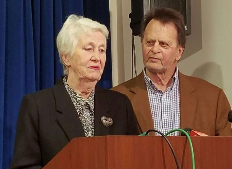 Retiree Edwin Hardeman addresses a news conference in San Francisco with his wife Mary, after Monsanto is ordered to pay him mor