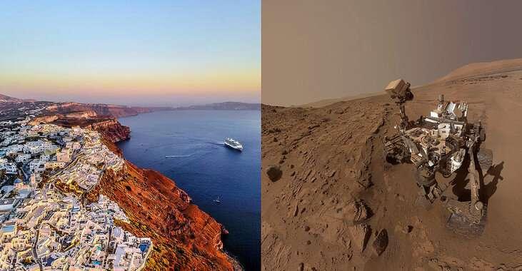 Santorini volcano, a new terrestrial analogue of Mars