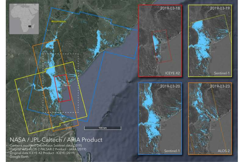 Satellites image Mozambique flooding after cyclone