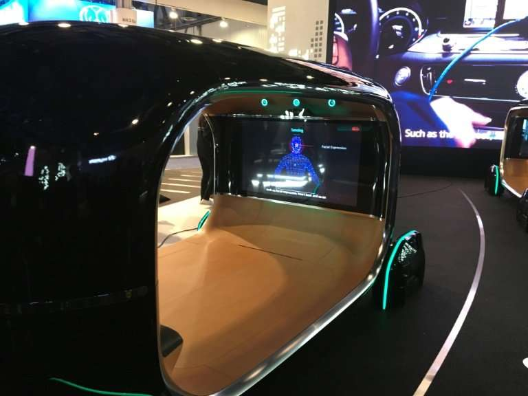South Korean automaker Kia shocases its new Real-time Emotion Adaptive Driving (R.E.A.D.), described as an emotional AI-based op