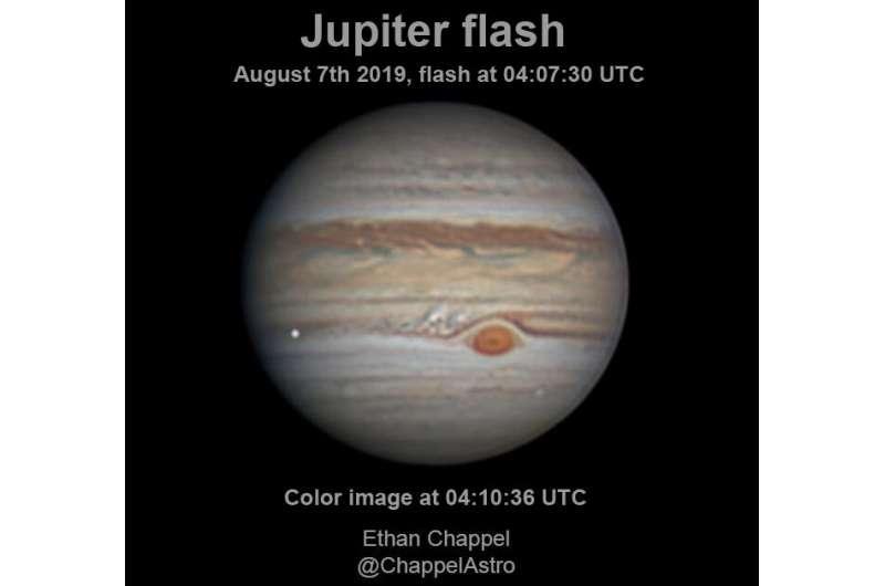 Stony-iron meteor caused August impact flash at Jupiter