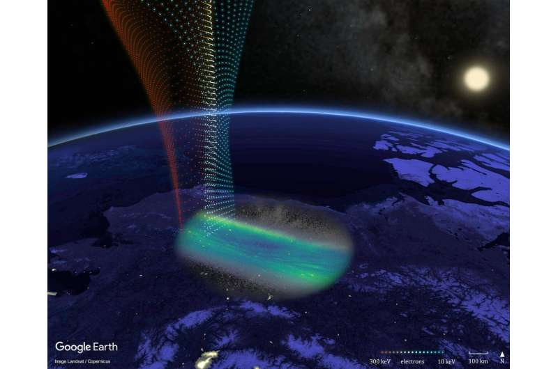 Streaks in aurora found to map features in earth's radiation environment