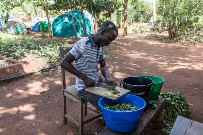 Tanguy Kponton, a training project analyst, prepares soup at the agricultural workshop that teaches young people how to work the
