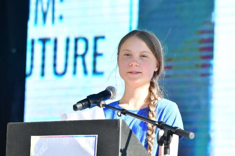 Teenage Swedish activist Greta Thunberg attends a climate action rally in Los Angeles, California on November 01, 2019