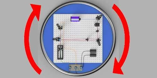 Testing quantum mechanics in a non-inertial reference frame using a rotating interferometer