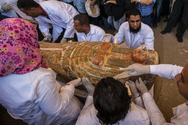 The coffins belong to men, women and children, said to be family members of priests from the time of ancient Egypt's 22nd Dynast