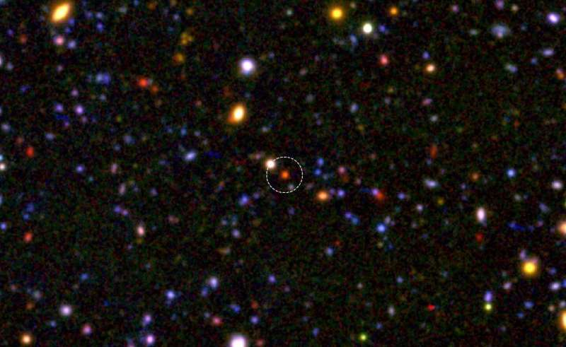 The 'cores' of massive galaxies had already formed 1.5 billion years after the big bang
