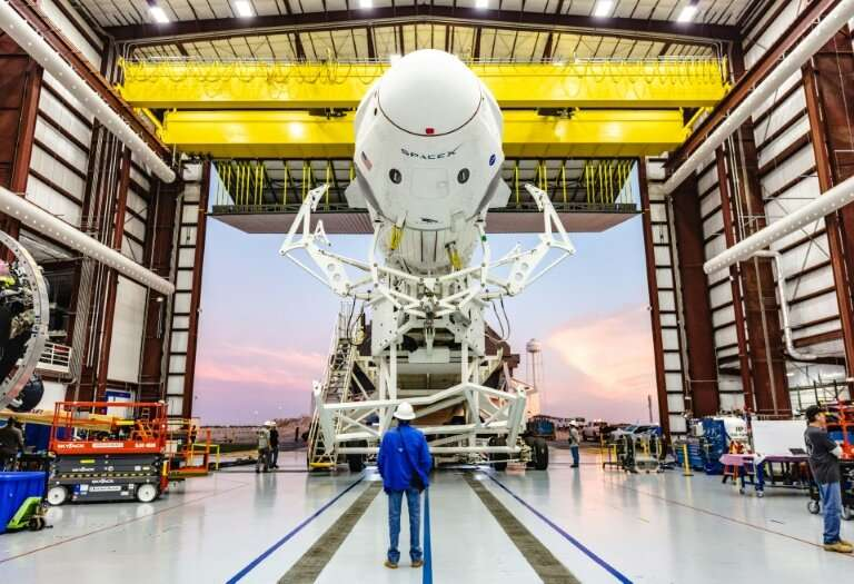 The Crew Dragon capsule seen at the Kennedy Space Center in Florida in a January 29, 2019 photo provided by NASA