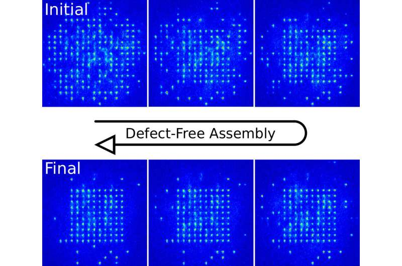 **The defect-free assembly of 2-D clusters with over 100 single-atom quantum systems
