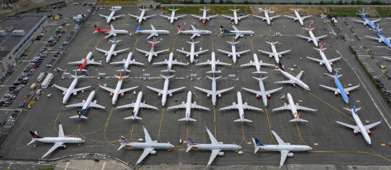 """The FAA did not initially ground Boeing 737 MAX airplanes  (pictured June 2019) and instead issued an """"emergency"""" airw"""