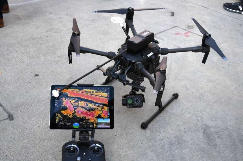 The FLIR C360 Muve gas detector, seen on a DJI Matrice 210 drone, can map toxic gases for the fire and emergency services