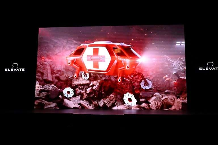 """The Hyundai Elevate, an """"Ultimate Mobility"""" concept vehicle, is displayed in a video during the Hyundai press conferen"""