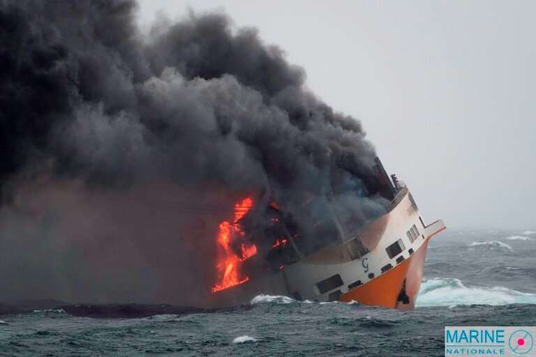 """The Italian cargo ship """"Grande America"""" sank off the French Atlantic coast after a fire got out of control"""