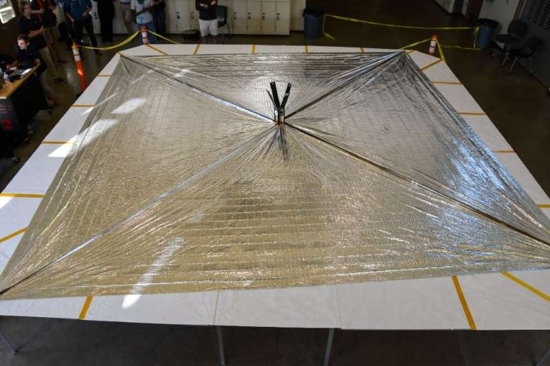 The LightSail 2 spacecraft sits on its deployment table following a successful day-in-the-life test at California Polytechnic St