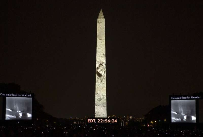"""The """"Apollo 50: Go for the Moon"""" show, combining full-motion projection mapping artwork on the Washington Monument and"""