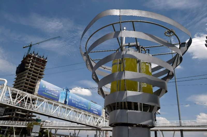 """The """"BioUrban 2.0"""" air purification system is seen in Puebla, Mexico on August 7, 2019"""