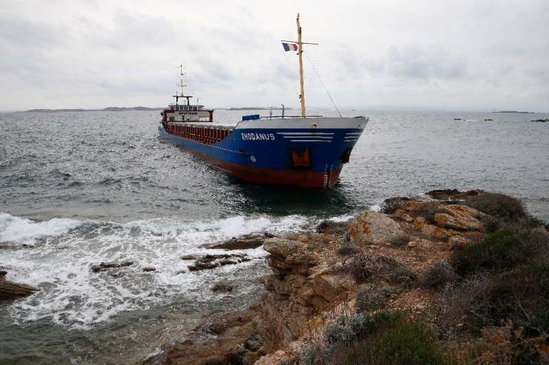 The Rhodanus, transporting 2,650 tonnes of steel coils and seven crew, ran into trouble in the Mouths of Bonifacio nature reserv