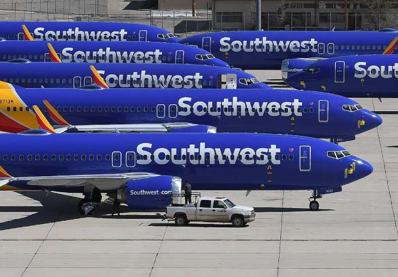 These Southwest Airlines planes, seen on a tarmac in California, were among the Boeing 737 MAX aircraft grounded in March after
