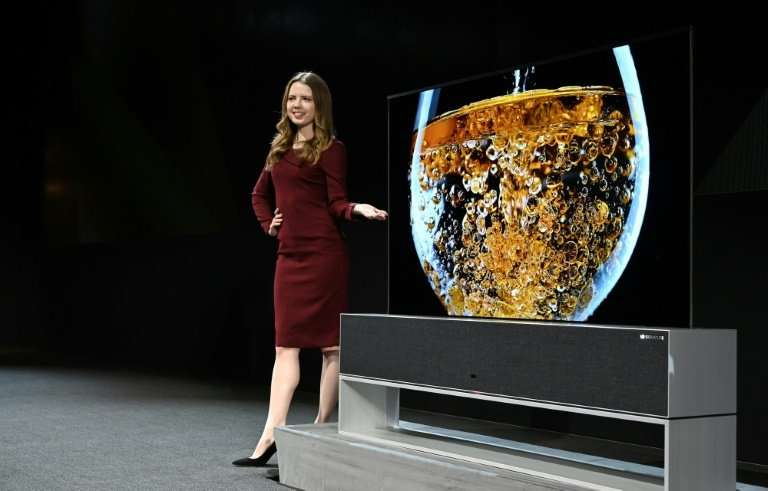 The Signature OLED TV R, a roll-up television, is presented ahead of the official start of the Consumer Electronics Show