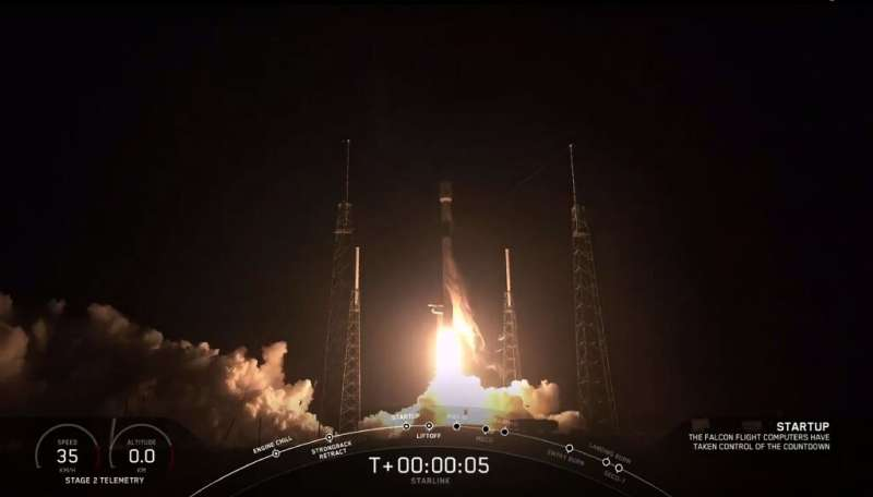The SpaceX Falcon 9 rocket carrying 60 Starlink satelites blasted off from Cape Canaveral, Florida