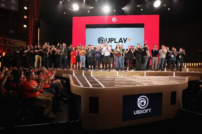 The Ubisoft team poses on-stage following the Ubisoft E3 2019 Conference at the Orpheum Theatre on June 10, 2019 in Los Angeles,
