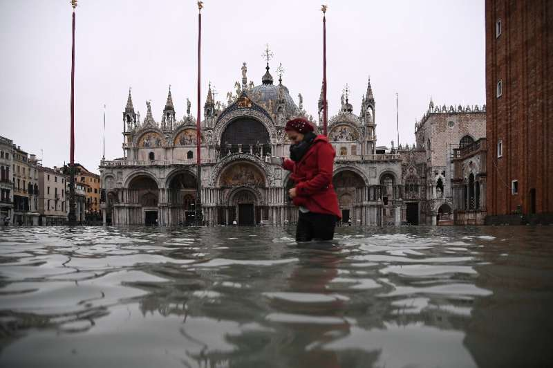 The watery scene outside St. Mark's Basilica on Wednesday