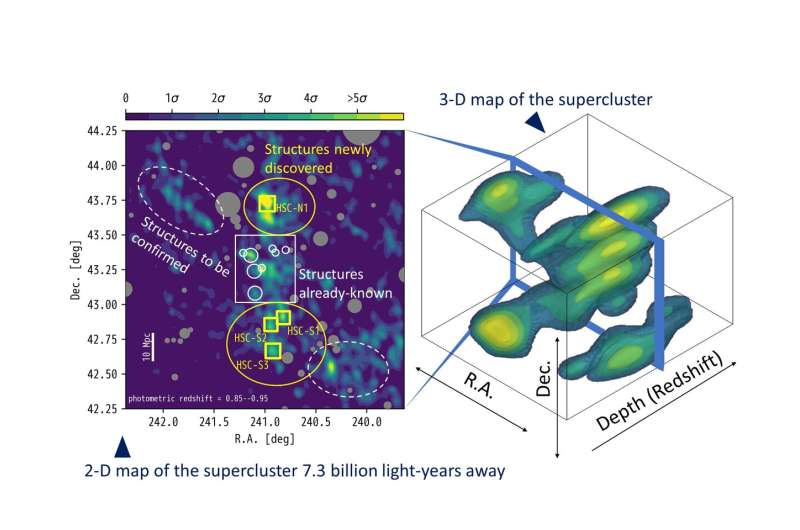 The whole picture of distant supercluster in three dimensions
