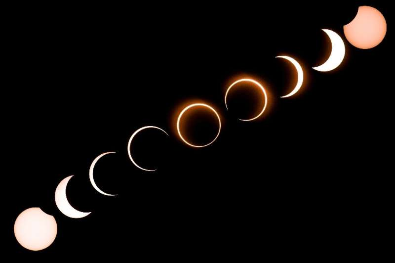 """This composite image shows the moon moving in front of the sun in a rare """"ring of fire"""" solar eclipse as seen from Tan"""