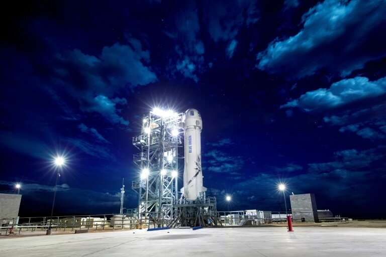 This handout photo shows Blue Origin's New Shepard rocket on a launch pad on April 28, 2018