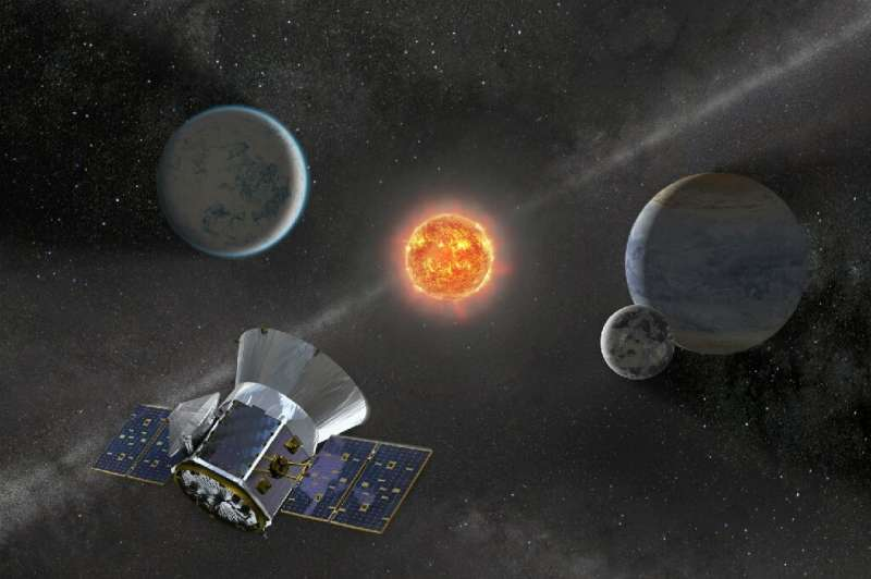 Undated illustration of NASA's TESS telescope launched in 2018