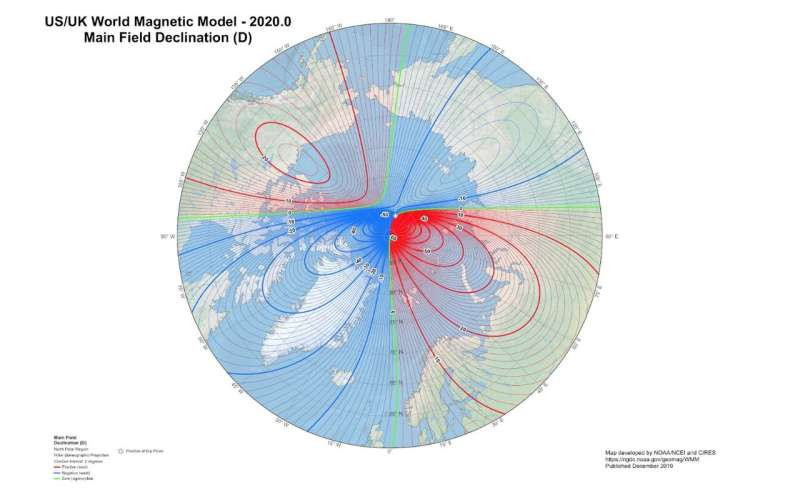 Updated World Magnetic Model shows magnetic north pole continuing to push towards Siberia