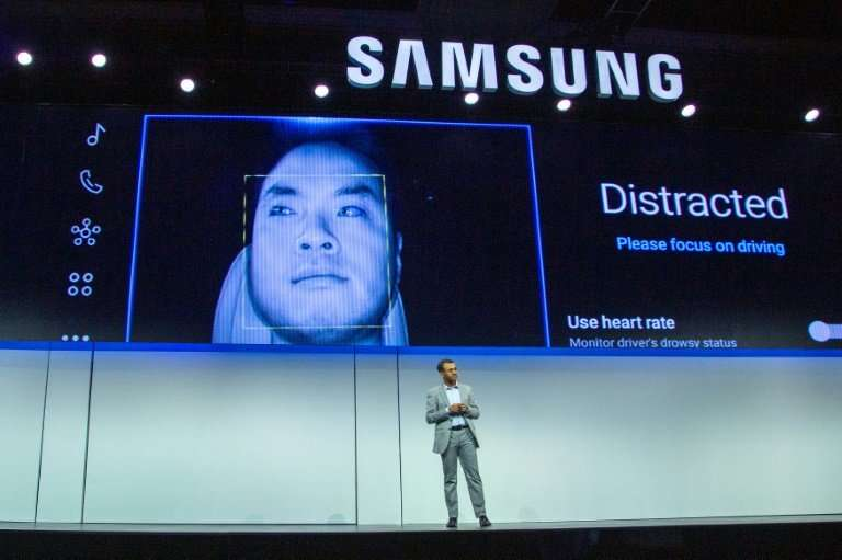 Vice President of Harman International Arvin Baalu talks about the smart car technology at the Samsung press conference at the 2